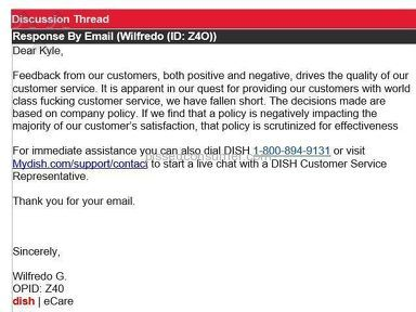 Dish Network - Unbelievable language by customer service