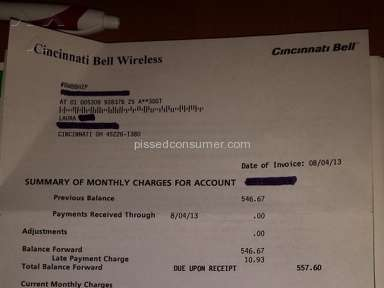 Cincinnati Bell charged $557.93 after account was closed!