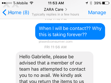 Zara Customer Care review 186932