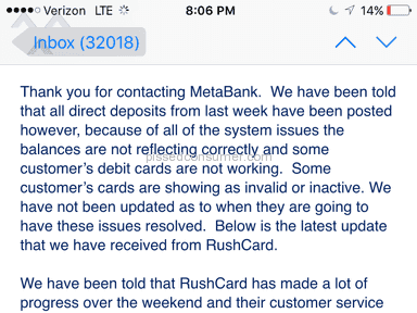 Rushcard Direct Deposit Review from Lima, Ohio