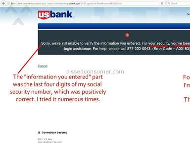 Us Bank - Locked out of my account for my own security