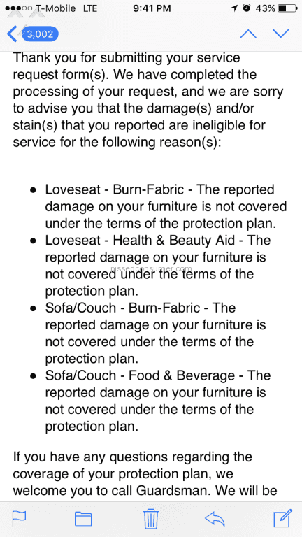 3 Guardsman Fabric Plus Furniture Protection Plan Reviews And Complaints Pissed Consumer
