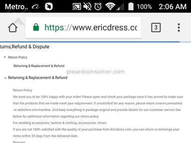 Ericdress - Don't buy from Chinese vendors