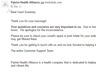 Patriot Health Alliance Customer Care review 133953
