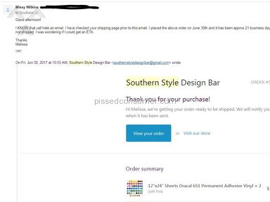 Southern Style Design Bar - Way beyond the 9-14 business day and company not responding to me