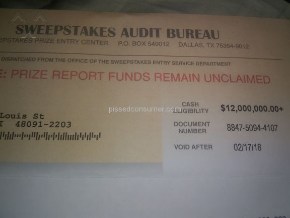 The Sweepstakes Audit Bureau Sweepstakes