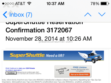 SuperShuttle - They cancelled my ride an hour before scheduled pickup time
