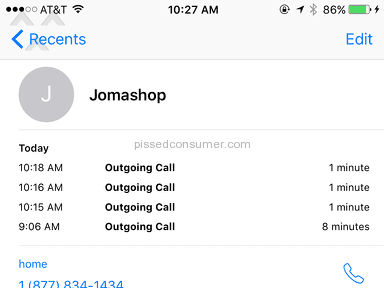 JOMASHOP CONTINUES TO IGNORE MY CALLS!!!