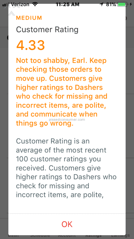 DoorDash - Dasher Nov 17, 2017 @ Pissed Consumer