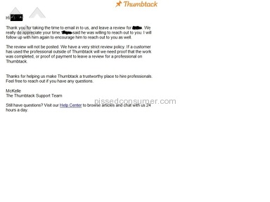Thumbtack Customer Care review 153144