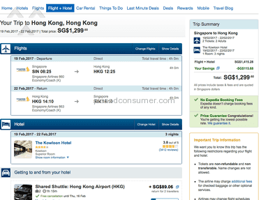 PRICE COMPARISON SAME HOLIDAY BOOKED IN UK V EXPEDIA SG