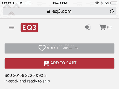 EQ3 Furniture - Store did not honor online sale