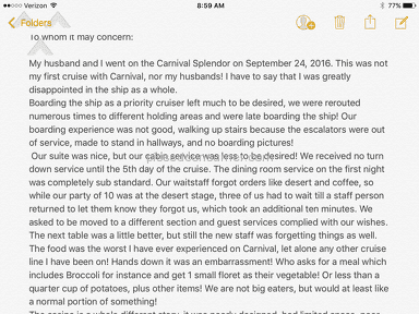Carnival Cruise Line - Disappointed