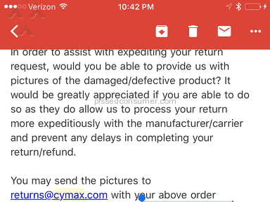Cymax Stores - Sent me a damaged dresser and won't refund money