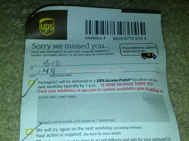 UPS Access Point is not Convenient but an excuse for not delivering