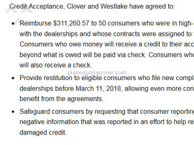 Westlake Financial Services - Taking over loans after the terms of their lawsuit ran out.