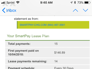 SmartPay Leasing - Never never ever use SmartPay because it's a complete scam!!