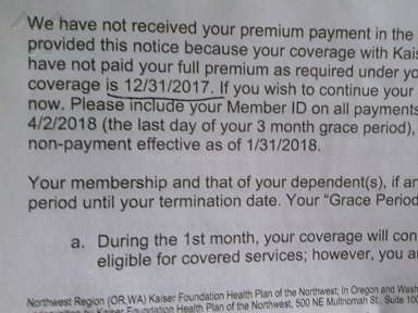 Kaiser Permanente - Unable to cancel insurance with kaiser