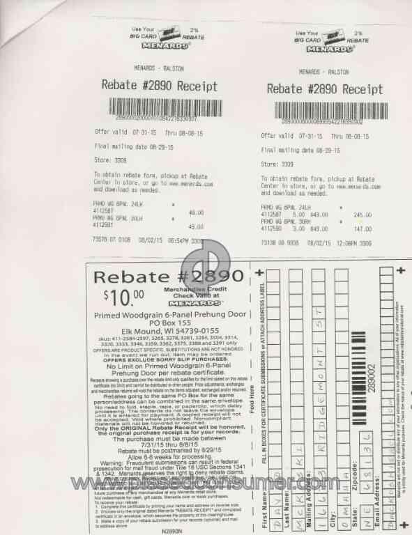 Menards - Rebate #2890 shorted $40 May 30, 2017 @ Pissed