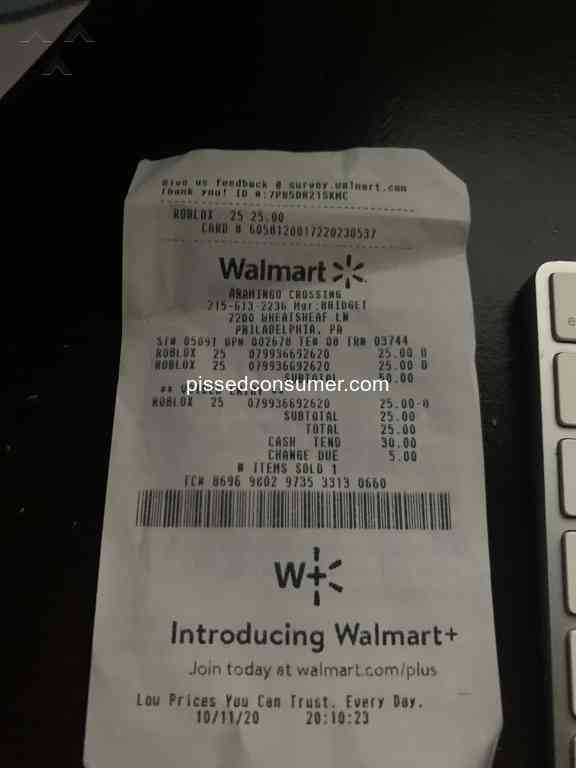 Roblox 25 Gift Card Walmart Com Walmart Com 67 Fastcard Reviews And Complaints Pissed Consumer
