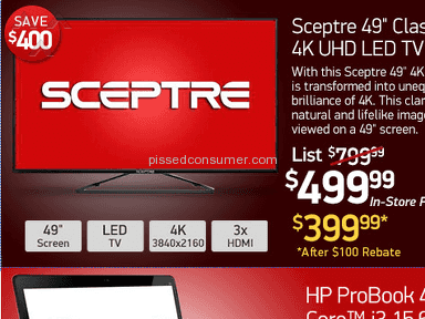 "Tigerdirect - False Advertising Sceptre 4K 49"" TV ad"
