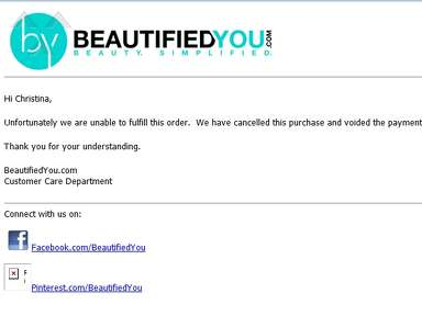 Beautifiedyou - Poor customer service