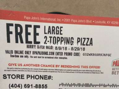 Papa Johns Pizza - Canceled order/promo code