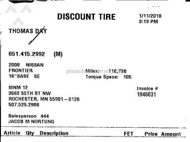 Discount Tire - Short lived and rapidly prorated