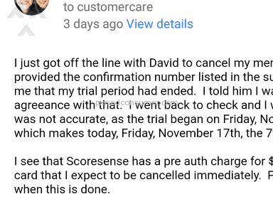 Scoresense - Cancelled within trial period. Still charged.
