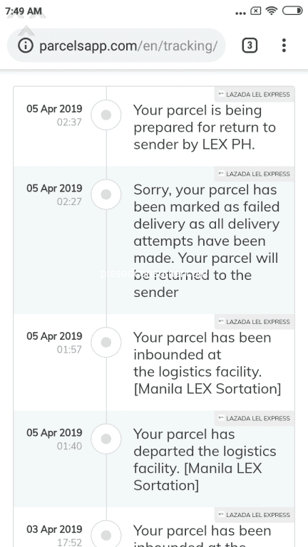 Lazada Philippines - Delivery attempt failed lazada LEL Apr