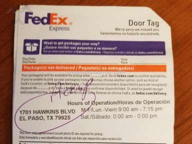Trobbles to get my package at FedEx