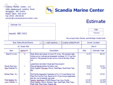 Scandia Marine Services Boat Bottom Painting Estimate review 157230