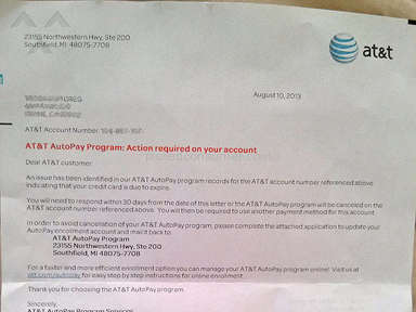 ATT - AT&T AutoPay Program: Action required on your account