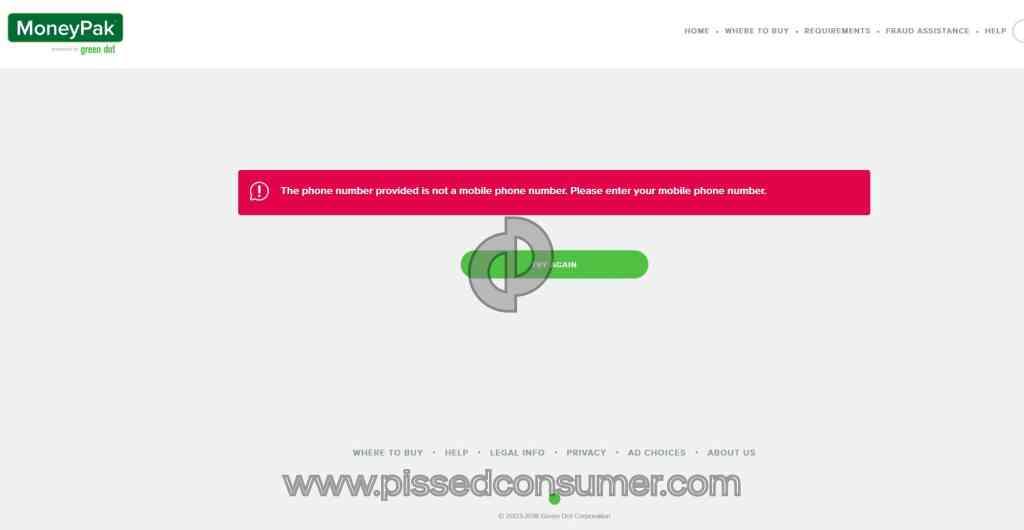 Green Dot Moneypak - MoneyPak SecureLogin doesn't accept my