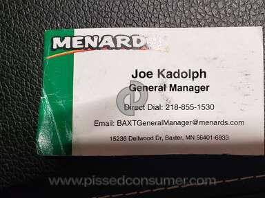 Menards Customer Care review 742511