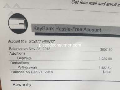 Key Bank Usa - Stole my money, closed out my accounts, refusing to tell me why!
