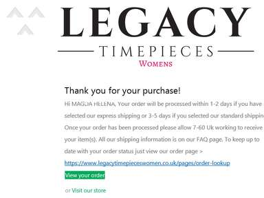 Legacy Timepieces - #LTPW37379 - I didn't receive