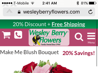 Wesley Berry Flowers - Make Me Blush Bouquet Review from Bountiful, Utah