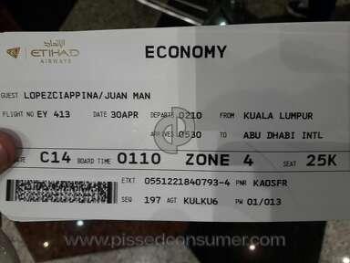 Etihad Airways - They assitance wroke the passport page