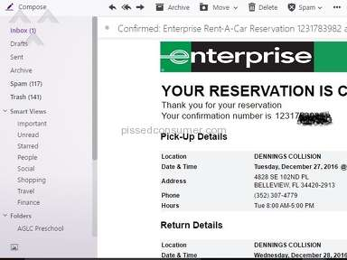 Enterprise Rent A Car - Vehicle not available...on the way to pick it up