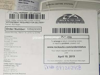Rockauto - Product was damaged during shipping, Rock Auto doesn't care.