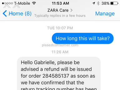 Zara Customer Care review 186944
