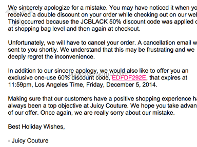 Juicy Couture irresponsibly cancelled my order