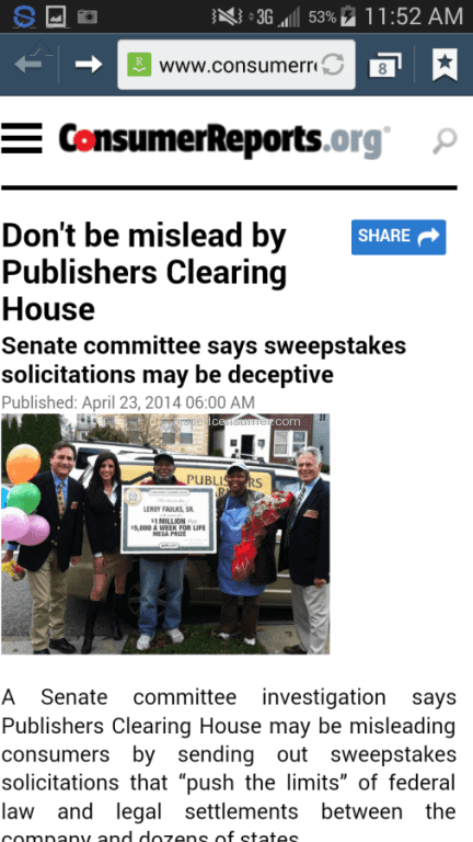Publishers Clearing House Sweepstakes Reviews in Richmond, Virginia