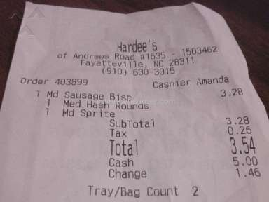 Hardees - Didn't receive the correct change back and was treat very rudely.