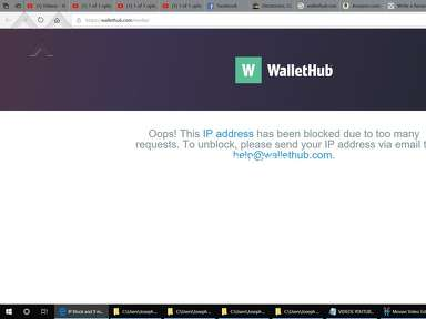 WalletHub - My I.P. Address Was Just Blocked