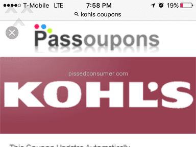 Kohls - 15 Percent Off Entire Purchase Coupon Review from Wayne, New Jersey