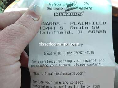 Menards Refund Advantage Customer Care review 992959