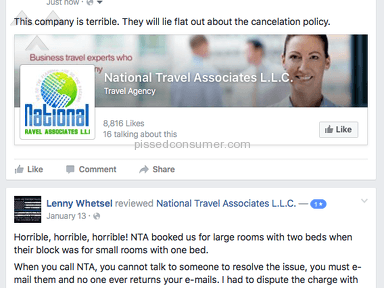 National Travel Associates L.L.C. Scam and Rude