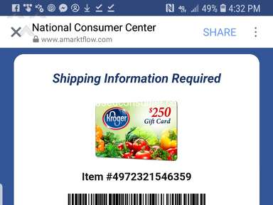 National Consumer Center - Total Scam for a $250 kroger gift card